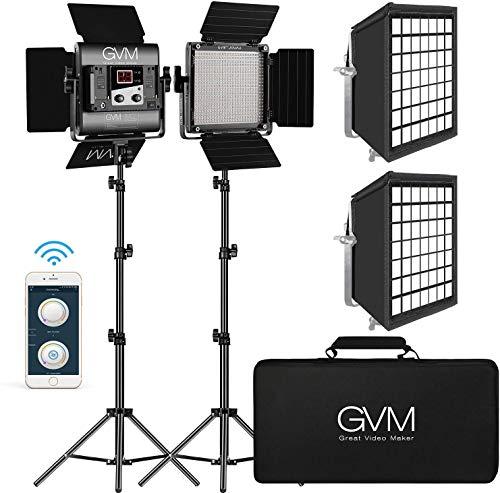 GVM Great Video Maker 560 LED Video Light, Dimmable Bi-Color, Photography Lighting with APP Control, Video Lighting Kit for YouTube Outdoor Studio, 2 Packs Led Panel Light, 2300K-6800K, CRI 97+