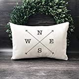 DKISEE Compass Pillow Cover, North South East West Pillow Cover, Farmhouse Pillow Case, Cotton Canvas Decorative Square Pillow Cushion Cover for Sofa Bed Chair Decor, 14x24 Inch