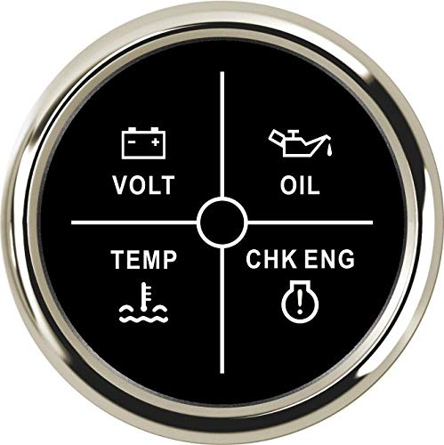 WANGXINQUAN 52mm Medidor de Temperatura del medidor 9-32V Volt/Aceite/Agua/Check Engine Indicador LED 4 Calibre for el Barco del Coche (Color : 800 00259, Size : Gratis)