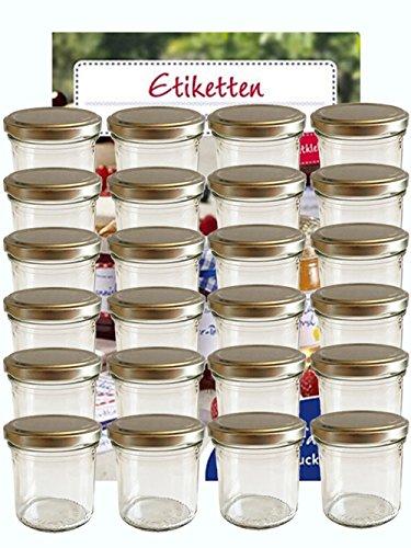 167ml 24 Stück Sturzgläser Silber mit Deckel ( 24 Etiketten NZ ) zum Beschriften Bedrucken Haushaltsetiketten Sweet Family Marmeladengläser Einmachgläser Einweckgläser Gläser