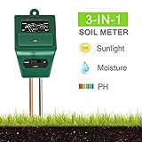 Xddias Bodentester, 3 in 1 Bodenmessgerät für Pflanzen, Boden Feuchtigkeit pH Lichtstärke Meter...
