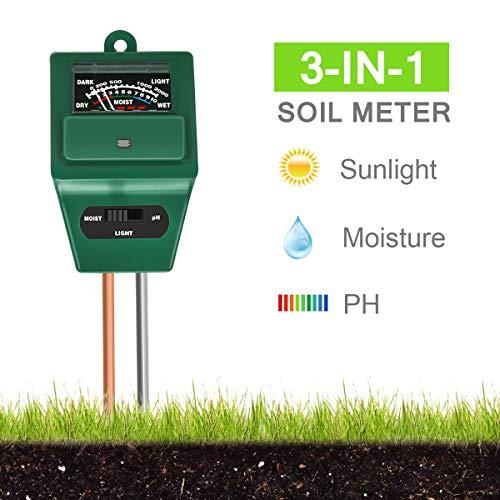 Xddias Tester per Il Suolo, 3 in 1 Tester per misuratore di umidità/Luce/PH dell\'acidità delle Piante, igrometro per Il monitoraggio dell\'Acqua del Suolo per la Cura del Giardino