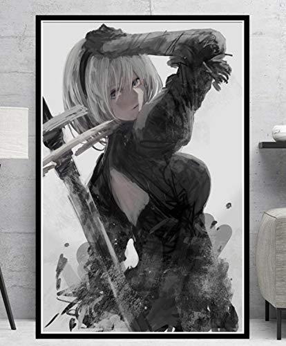 SGDDGF Juego de Lucha contra computadoras Chica Anime Comic Pintura al óleo Lienzo póster impresión Mural Imagen Sala decoración del hogar 40X60 sin Marco
