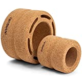 Inviguri Back Roller Wheel (Set of 2), Extra Wide and Sturdy Design Back Stretcher Wheel, Yoga Wheel with Spine Groove for Back Pain Relief with Moderate to Intense Pressure, Natural Cork Roller.