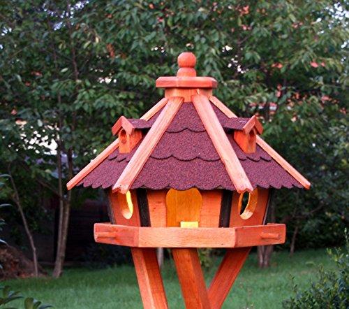 holzdekoladen Vogelhaus, Vogelhäuser mit Solarbeleuchtung mit und ohne Ständer behandelt Typ 23 (Rot, ohne Ständer)