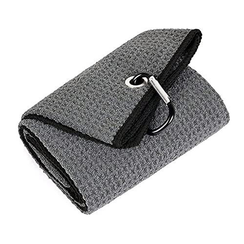 Kongqiabona-UK Microfibra doblada de la Toalla de Golf del Uso cómodo 40x50CM con el Clip del mosquetón para el Yoga de los Deportes del Golf