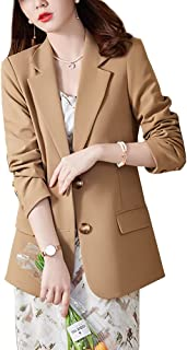 DISSA Women's Long Sleeve Blazer Single Breasted Solid Fitted Autumn Office Cardigan Jacket,YR6186