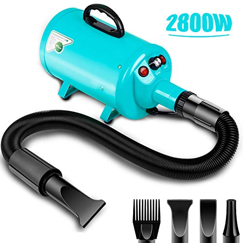 amzdeal Dog Dryer 2800W/3.8HP Stepless Adjustable Speed Dog Hair Dryer Dog Grooming Blower Pet Hair Force Blower Blaster with Heat System, Spring Hose, Blue