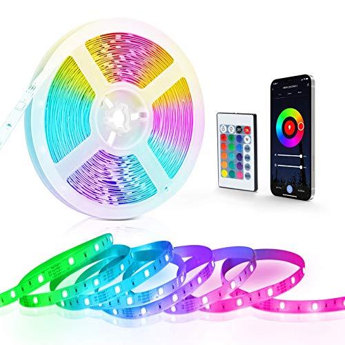 LED Strip 10M mit Bluetooth MESH, Fansteck LED Streifen 5050 SMD RGB, LED Band Lichterkette Dimmbar Farbwechsel mit Countdown, APP-Steuerung, Fernbedienung, Sync mit Musik für Party Bars,12V Netzteil