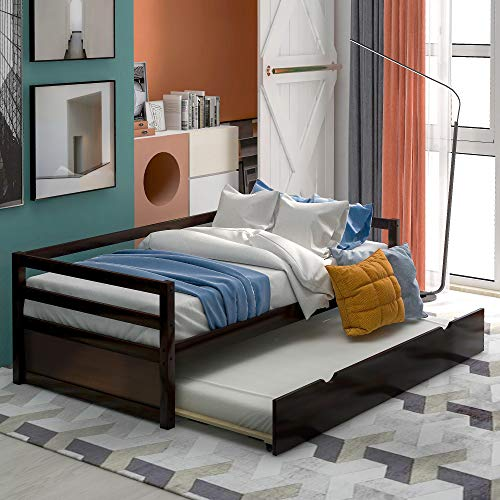 Why Choose Wood Daybed with A Trundle Twin, OUSING Twin Size Trundle Daybed/Twin Daybed Frame Wood, ...