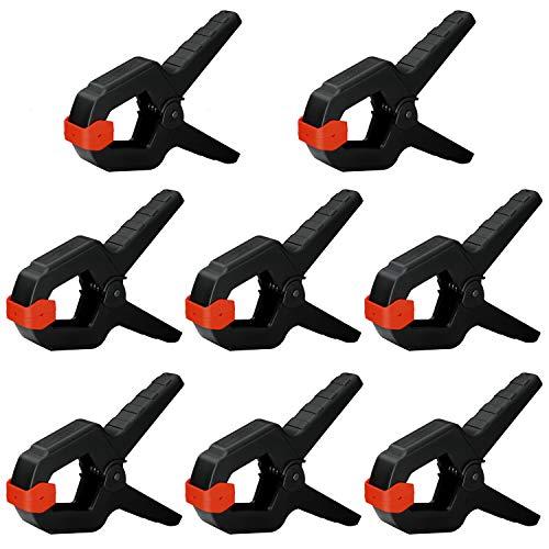 Nirox 8x Pinzas de resorte en un juego - pinzas de sujeción con resorte con amplia apertura de mordaza - pinzas tensoras con elevada fuerza de sujeción - pinzas con resorte y mordaza móvil