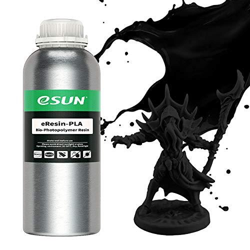 eSUN LCD UV 405nm Resina Plant-based per Stampante 3D Resina PLA Biodegradabile Fotopolimerizzante UV Resina Fotopolimerica Rapida per Stampa 3D LCD, 1000g Nero
