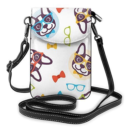 Bolso ligero del teléfono celular de la PU, gafas divertidas del perro de las pequeñas bolsas cruzadas del bolso del hombro de la cartera del bolso del Pounch para las mujeres