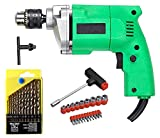 This Is A Must Have Too Combo Of 10mm Drill Machine With 13pcs Drill Bit Set & 1pcs Masonry Drill Bit Heavy Half Metal Body Drill Machine 2600RPM Copper Motor And Solid Plastic Body With Comfort Grip Handle For Your Home As It Repairs Things Instantl...