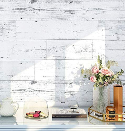 HaokHome MR47 Peel and Stick Wood Wallpaper Shiplap Light Grey/White/Blue Distressed Wood Plank Removable Wallpaper Self-Adhesive 17.7in x 9.8ft