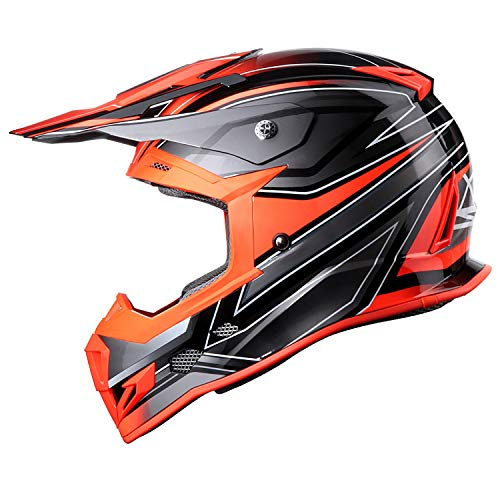 GLX Unisex-Adult GX23 Dirt Bike Off-Road Motocross ATV Motorcycle Helmet for Men Women, DOT Approved (Sear Orange, X-Large)