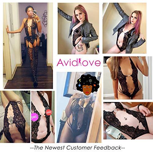 Avidlove Womens Halter V Neck Lingerie Lace Bodysuit One Piece Teddy Babydoll Black Medium