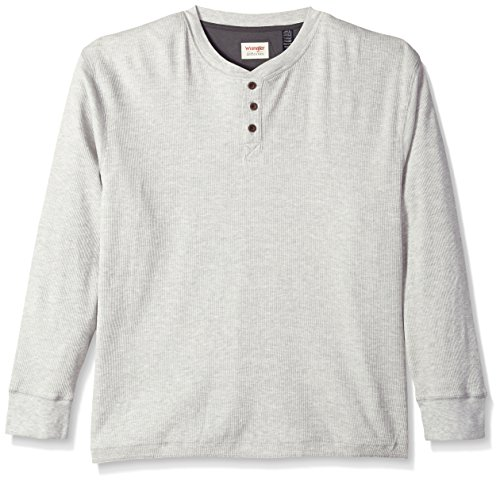 Wrangler Authentics Men's Long Sleeve Waffle Henley, light heather gray, Small