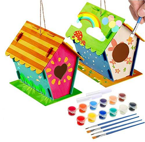 LGZY Arts and Crafts Bird House para niños de 4 a 8 años, Bricolaje Propia casa de pájaros de Madera para niños, Construir y Pintar pajareras,Juguetes educativos