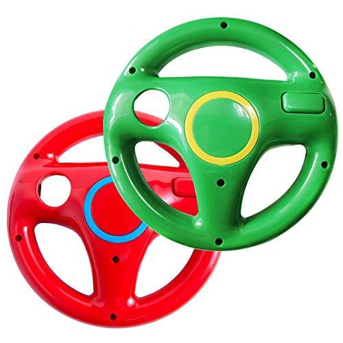 Volante Wii, DOYO 2 Pack Wii Mario Kart con Volnte para Nintendo Wii, Volante Wii Verde y Rojo Sin Control Remoto, Volante Racing Wii U para Carreras, Tanques y Otros Juegos de Conducción
