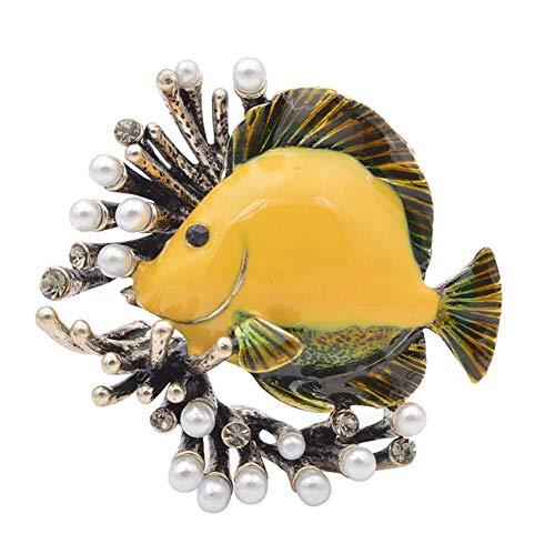 Brosche Fisch gelb und Koralle Stahl emailliert