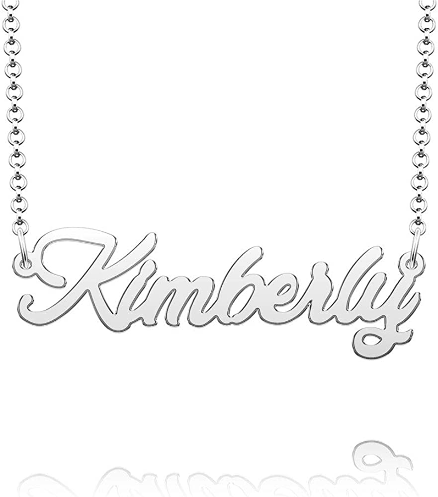 Q&Locket Stainless Steel Personalized Custom Name Script Nameplate Necklaces Gifts for Girls Womens Mens