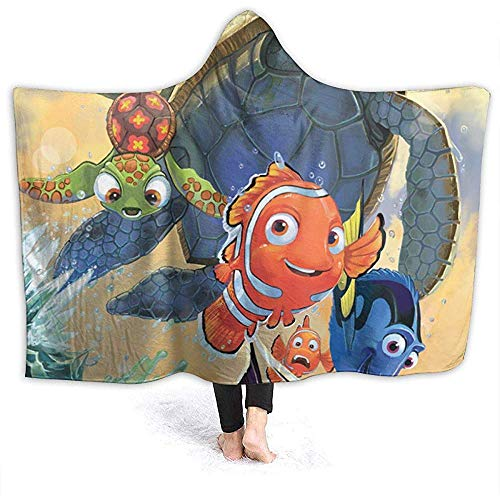 Niet van toepassing Hooded Deken Cartoon Finding Nemo Gooi Dekens Sherpa Fleece Draagbare Knuffel Warm Zachte Hooded Dekens voor Volwassenen Mannen Vrouwen 60x50 Inches