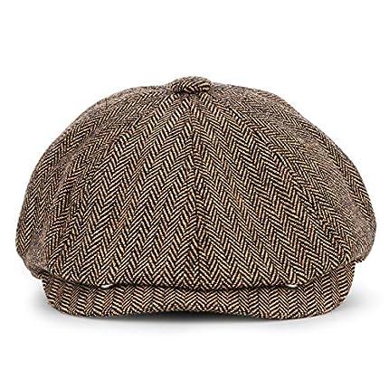 KeepSa Newsboy Casquillo Plano Sombreros Baker Boy Gorras - 8 Panel Peaky Herringbone Tweed Gatsby Hat Ivy Irish Cap para Hombres y Mujeres, Ajuste 56~62cm