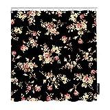 Tende da doccia floreali Natura Bouquet Vintage Rosa Rosa Fiore Foglie Verdi Bagno Set di tende da doccia Decorativo per la casa Tessuto in Poliestere impermeabile con ganci BLU