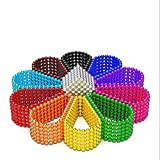 RQW Magnetic Balls 1000 PCS 3 MM Rainbow Creative Magnet Toys Set Rare Earth Powerful Beads Desktop Sculpture with Endless Shapes for Holiday Gift (Ten Colors)