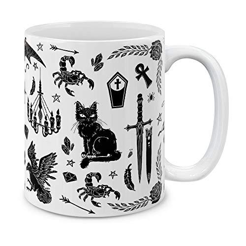 MUGBREW Gothic Line Art Black Ceramic Coffee Gift Mug Tea Cup, 11 OZ