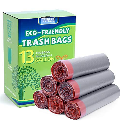 YHEEL Müllsäcke Biologisch abbaubar 50L Müllbeutel mit Kordelzug Griff mülltüten Recycling Wastebasket Liner Taschen für Küche, Garten, Büro, 150St, Grau
