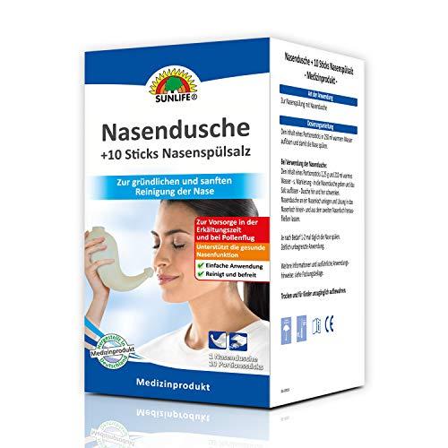 SUNLIFE Nasendusche und Nasenspülsalz: effektive Nasenreinigung für eine freie Nase, Kanne + 10 Portionssticks à 2,25g