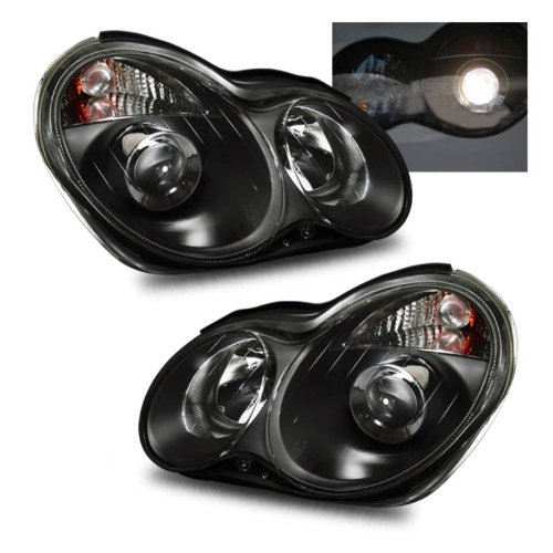 SPPC Projector Headlights Black Assembly Set For Mercedes-Benz C Class W203 - (Pair) Driver Left and Passenger Right Side Replacement Headlamp