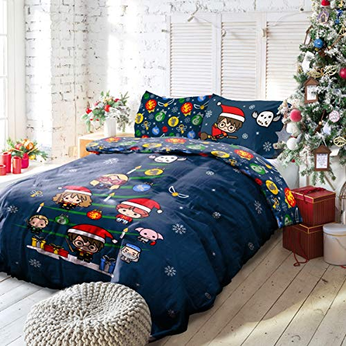 Warner Brother Harry Potter Christmas Xmas Charm & Cheer Blue Easy Care Reversible Duvet Cover Quilt Bedding Set with Pillowcases Officially Licensed-Double (200cm x 200cm), Polycotton