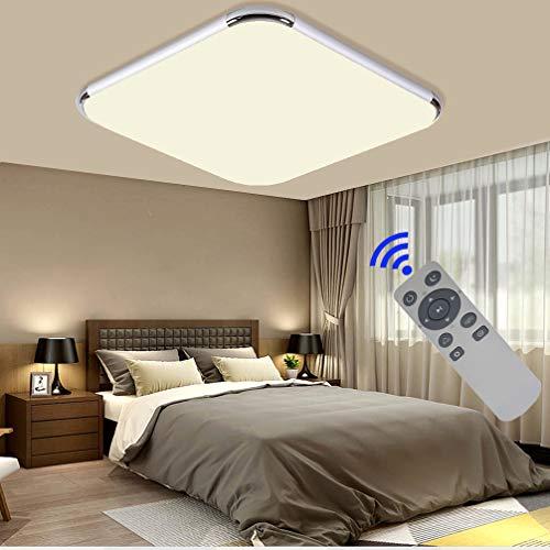 Lámpara LED de techo regulable 36 W – 72 W Moderna lámpara de techo pasillo dormitorio salón lámpara de bajo consumo luz moderna minimalista marco de plata + FB