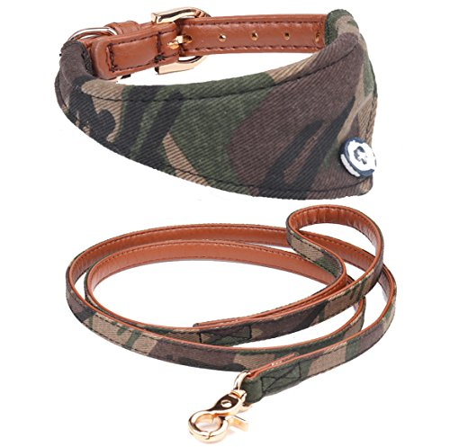 Fourhorse Dog Collar and Leash Set for Small Dogs and cat with Green Camo Bandana,Adjustable Buckle