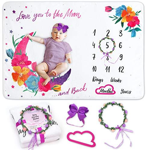 GROWY BABY Milestone Blanket for Baby Girl - Adorable Floral Moon Baby Monthly Milestone Blanket Girl Flannel Fleece Girl Milestone Blanket - XL Newborn Baby Girl Blanket - 60 x 40 in