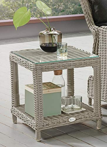 Destiny Loungetisch Merano Tisch Polyrattan Beistelltisch Kaffeetisch 50 x 46 cm in weiß - Ohne Sessel -