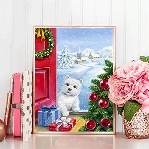 DIY 5D Diamant Malerei Kits für Erwachsene/Kids,Weihnachtshund Malen nach Zahlen Diamond Painting Bilder Voll Kristall Strass Stickerei Kreuzstich Kunst Crafts für Home Wanddekoration 80x120cm/32x48in