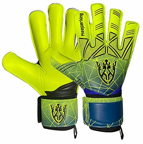 Keeperking Guantes de portero para adultos, niños, jóvenes, con y sin protección para los dedos, guantes de fútbol extraíbles, 4 mm, unisex, color amarillo
