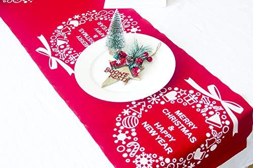 Hawiton Kerstmis tafelloper borduurwerk tafelkleed avondeten desktop keuken kamerdecoratie tafelset kersttafeldecoratie 28 x 270 cm