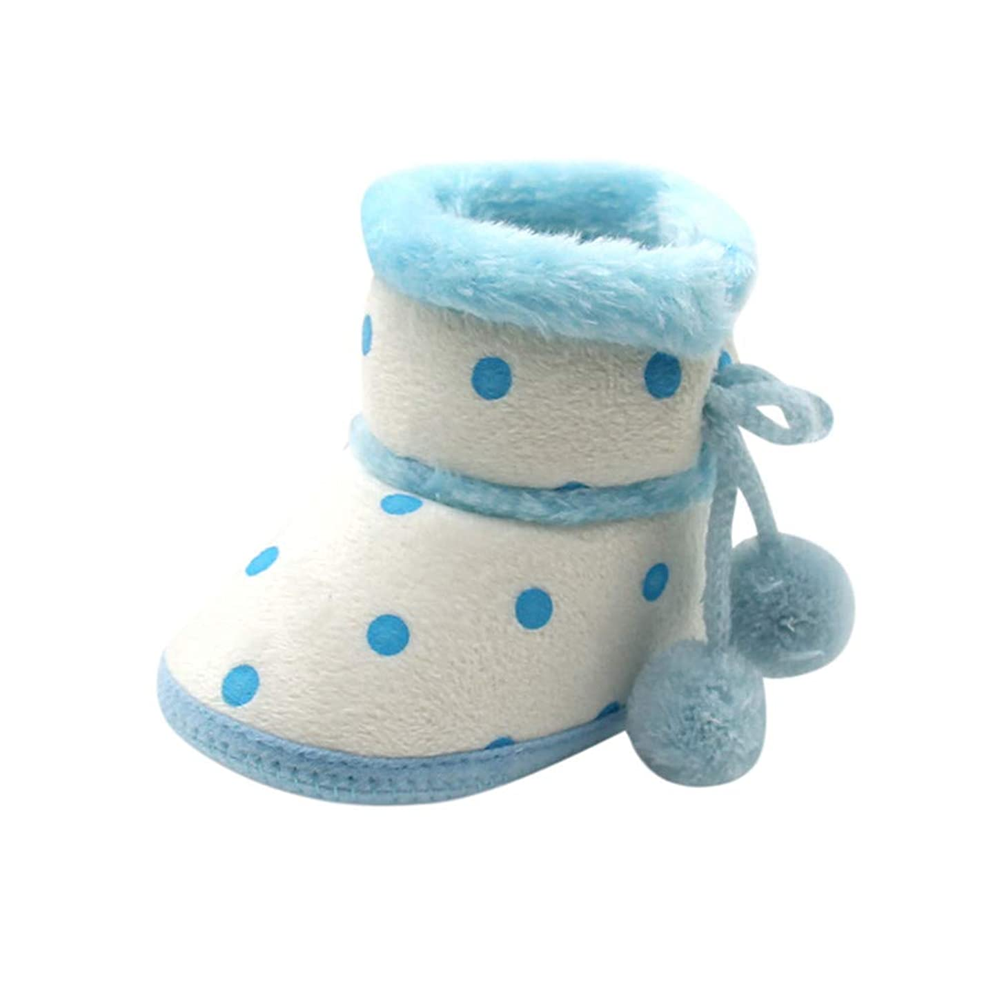 Newborn Warming Shoes,Baby Plus Velvet White Dot Polka Dot Small Hair Ball Soft Bottom Boots,SIN vimklo(0-12 Months)