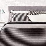 Amazon Basics - Set copripiumino in tessuto Jersey, motivo a strisce - 220 x 250 cm / 50 x 80 cm, Grigio scuro