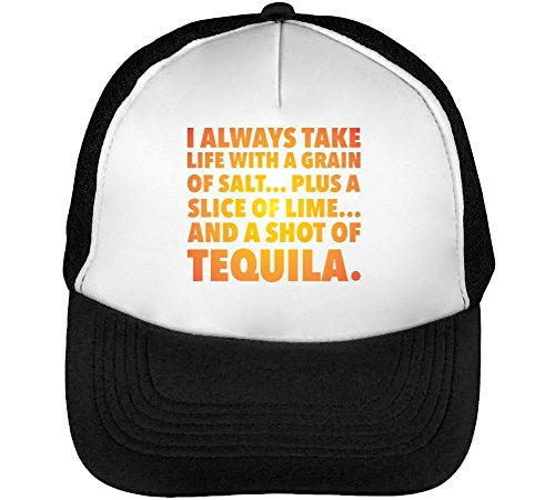 Life Shot of Tequila Heren Baseball Trucker Cap Hat Snapback Black White