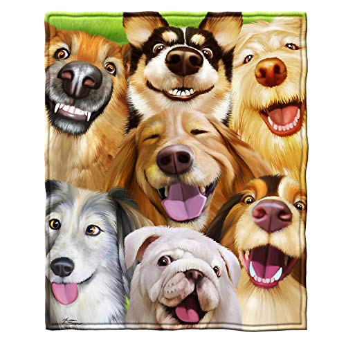 Dawhud Direct Super Soft Full/Queen Size Plush Fleece Blanket, 75' x 90' (Dogs Selfie)