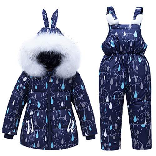 DTZW Kinderskianzüge, Kinder-daunenjackenanzüge, Wind- Und wasserdichte Skianzüge, Zweiteilige Winteranzüge Für Jungen Und Mädchen Blue2-80cm