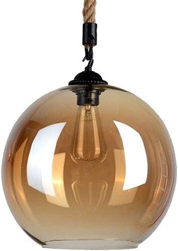Cuisine Pendentif Lampe Lumières Ambre Loft Boule De Verre Vintage Globe LED Lumières Restaurant Bar Industrialstyle Lampe Suspendue Chanvre Corde Corde Réglable (Taille   30CM)