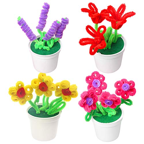 A/H DIY Muttertag handgemachte Kunstpflanzen, Machen Eltern-Kind-Material-Kit mit Haarige Wurzel Blume Topfpflanze, Topf Indoor Fake Grüne Topfpflanze (Mehrfarbig)
