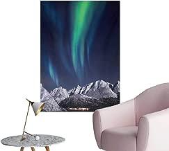 Anzhutwelve Sky Photographic Wallpaper Aurora Borealis Aurora Over Fjords Mountain at Night Norway Solar Image ArtworkGreen Dark Blue W24 xL32 Funny Poster